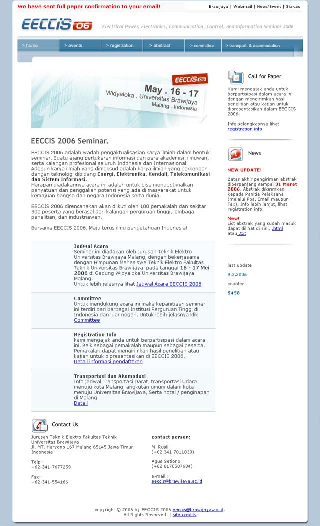 EECCIS 2006 website